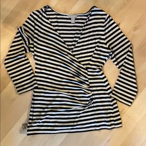 BANANA REPUBLIC 3/4 sleeve black & cream striped